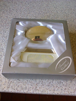 Silver Plate Baby's Christening Hair Brush and Comb Gift Set Boxed