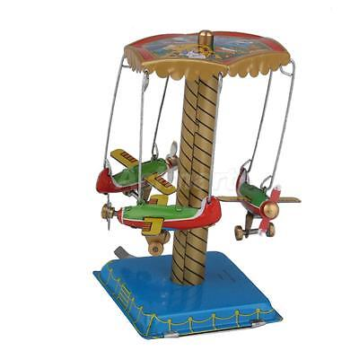 Retro Wind Up Carousel w. Airplanes Planes Metal Tin Toy Adult Collectible