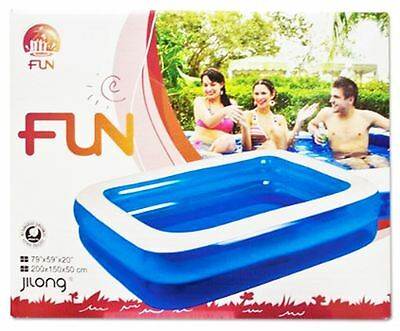 Rectangle Swimming Paddling Pool Kids Adult Family Party BBQ Fun Outdoor Inflate