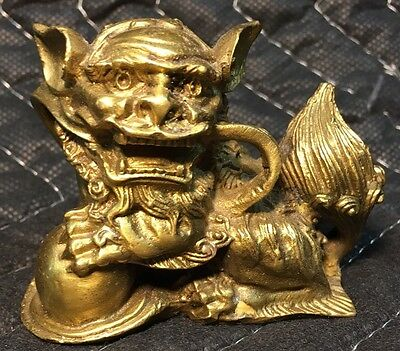 Vintage Antique Brass Chinese Lion Palace Guard Foo Dog Figurine Paperweight