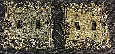 Vintage Ornate Shabby Rose Double Switch Wall Plate Covers AmerTac Silver/Gold