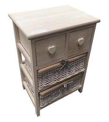 New Shabby Chic 3 Tier White Bedside Unit Table Maize Basket Bathroom Bedroom