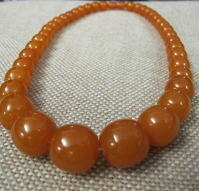 Art Deco Bernstein Kette Kugeln huge real amber butterscotch necklace vintage