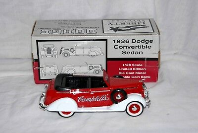 CAMPBELL'S 1936 Dodge Convertible, Sedan, 1/28 scale, die cast, Liberty Classic.