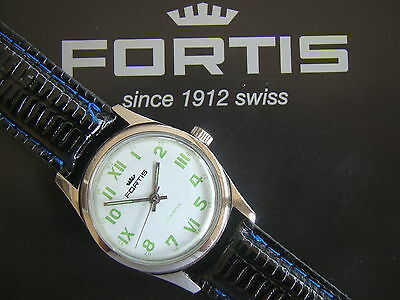 Vintage Fortis Antique Roman White New Old Stock Stainless Steel 17 Jewel Watch