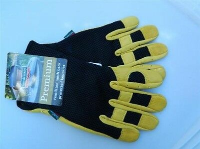 Town & Country Premium Garden Gloves Leather & ventilated mesh back