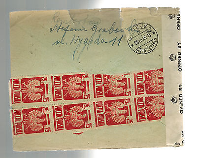 1945 Warsaw Poland Censored by Britain Cover to Red Cross Switzerland