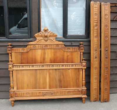 1920's Carved Solid Walnut Henry 2 style bed Rails Foot and Head Board.Double.