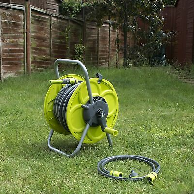 Set 30M Hose & Reel Garden Watering Pipe Standing Winder Tube Troley Cart