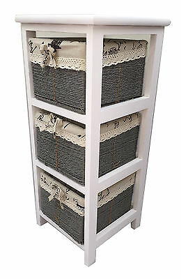 Maize Baskets Unit 3 Drawer White Wooden Slim Cabinet Storage Organiser Table