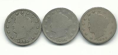 Usa Lot Of 3 X 5 Cents 1895, 1898, 1900 Coins