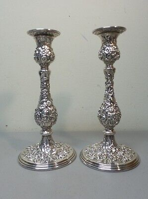 "PAIR VINTAGE KIRK ""REPOUSSE"" STERLING SILVER TALL CANDLESTICKS, 850 grams"