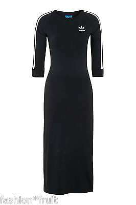 Adidas Originals Black 3-Stripes Midi Bodycon Figure Fit Maxi Dress XS S M L