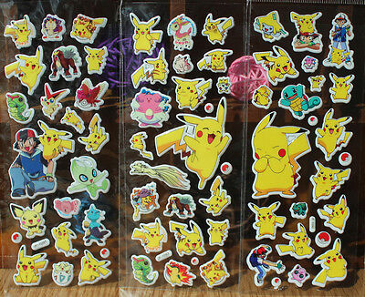 3pcs Pokemon Stickers Pikachu Pocket Monster Scrapbooking Sticker Sheet New LCF