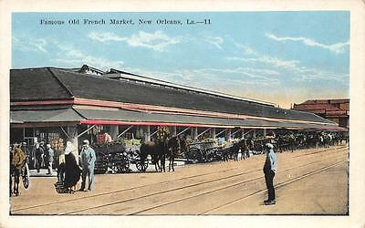 Famous Old French Market, New Orleans, LA Vintage Louisiana Postcard ca 1920s