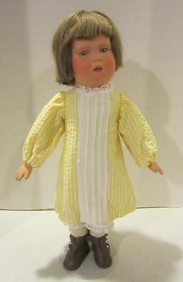 """Vint 17""""Schoenhut jointed wooden pouty face girl in nice outfit -face repaint EC"""