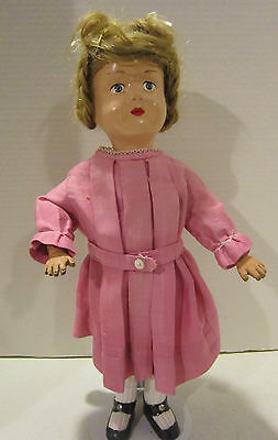 "Vintage 15"" Schoenhut jointed wooden doll, painted features - natural hair wig"