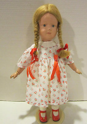 "Vint 15"" Schoenhut jointed wooden doll, painted features -mohair wig -orig paint"