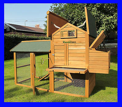 Large Deluxe Chicken Coop Hen Poultry House Ark Hutch Run Nest New Kingsbourne