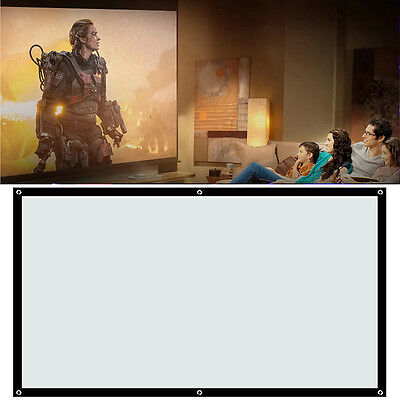 "84"" HD Projection Screen Home Cinema Projector Fabric 16:9 Matt White In Rolls"