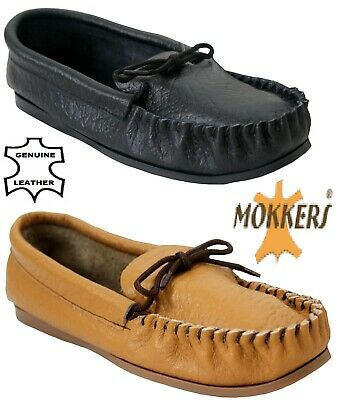 New Mens Boys Moccasins Real Leather Flat Comfort Made In Uk Mocc Slipper Shoes