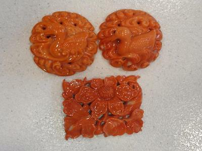 STUNNING Antique Carved Natural Salmon Coral Pendants -Natural not Dyed