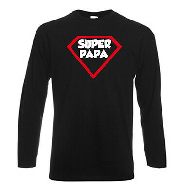T-shirt noir homme manches longues fruit of the loom SUPER PAPA