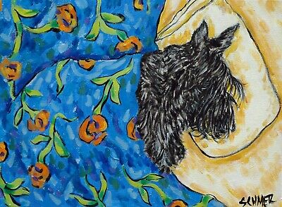 scottish terrier sleeping bedroom art signed dog print 4x6 glossy finish