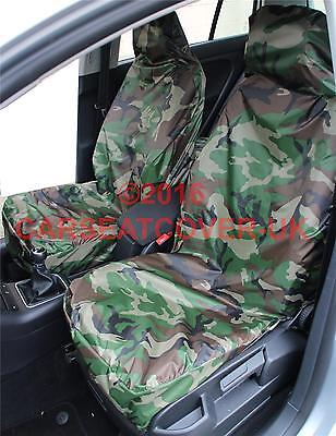 Audi A3 Cabriolet (2013-) GREEN Camouflage Waterproof Car Seat Covers - 2 Fronts