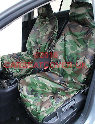 Pair Grey Camouflage Waterproof Car Seat Covers 2007-11 Vauxhall Combo Tour