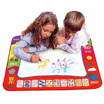 Kids Toy Water Drawing Writing Painting Mat Board 2 Magic Pens Doodle Mat Aqua