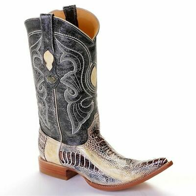 588903151a9 3X TOE LOS Altos Men's Genuine Ostrich Leg Western Cowboy Boots Natural