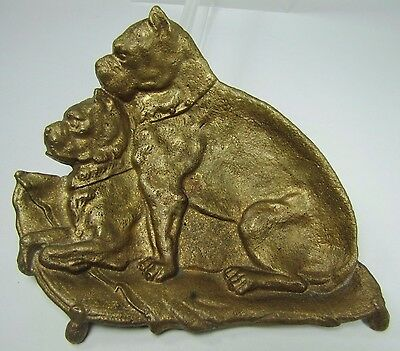 Old Boxer Dogs Brass Tray pair of boxers thick card tip coin trinket watch ring