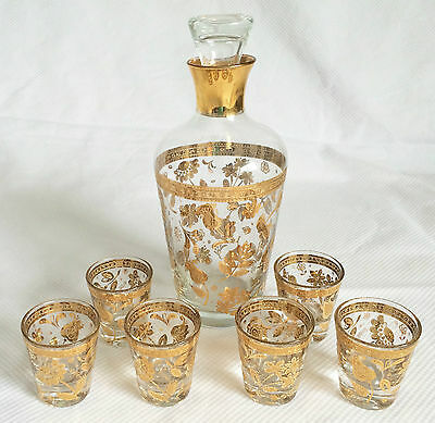 Culver LTD 22kt Gold Floral CHANTILLY Decanter & Six Shot Glasses Mid Century