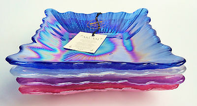 Akcam Art Glass Iridescent Square Dishes Handmade Turkey Blue Silver Purple Pink