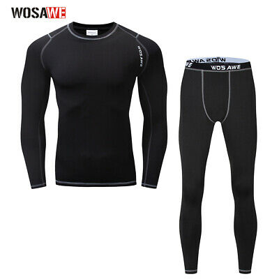 Winter Long Sleeve Base Layer Underwear Thermal Fleece Compression Pants Warmer