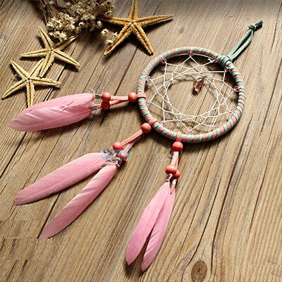 Pink Feather Dream Catcher Car Wall Hanging Decoration Handmade Ornament Gift Q
