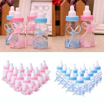 12/24Pcs Fillable Bottles Candy Box Baby Shower Baptism Party Favour Christening