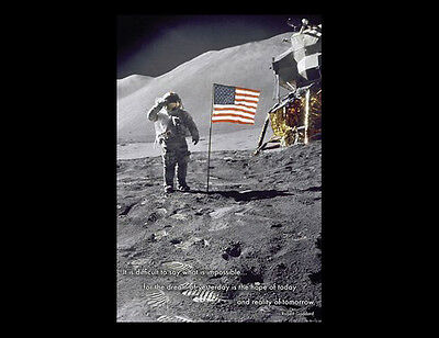 NEIL ARMSTRONG Apollo 11 Moon Landing Poster w/Robert Goddard Quote