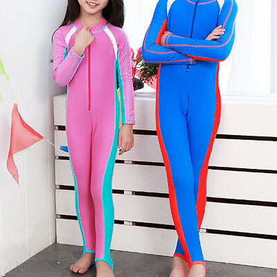 Kids Boy Girl Longsleeve Swimwear Coverall Wetsuits Surfing Swimming Diving Suit