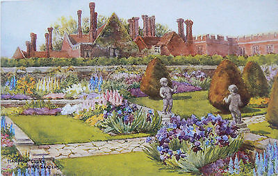 Vintage Postcard.hampton Court Gardens.two Cards.publisher Salmon.hand Coloured
