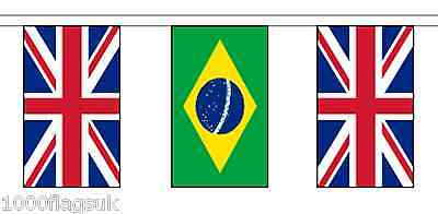 Brazil & United Kingdom UK Polyester Flag Bunting - 5m with 14 Flags