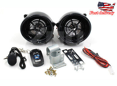 Bluetooth Motorcycle Sound System Mount 2 Speakers FM Radio Audio MP3 Stereo 12V
