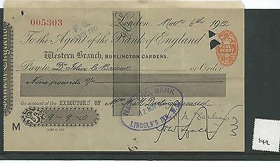 wbc. - CHEQUE - CH142 - USED -1910s - BANK of ENGLAND, BURLINGTON GDNS. LONDON