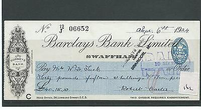 wbc. - CHEQUE - CH162 - USED -1920's - BARCLAYS BANK, SWAFFHAM