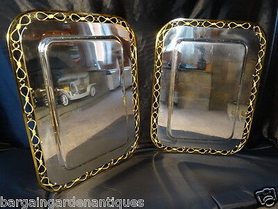 Pair Vintage French Louis XVI Silver & Gold Plated Champagnel Bar Serving Trays