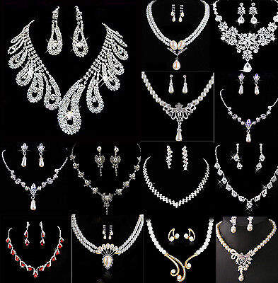 COOL Charm Prom Wedding Bridal Jewelry Crystal Rhinestone Necklace Earring Sets