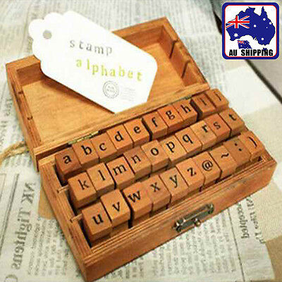 30Pcs Vintage Wooden UpperLower Case Alphabet Letters Rubber Stamps Box GBDA219