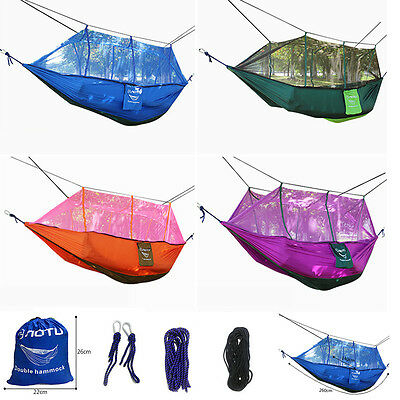 Portable Outdoor Swing 2 Person Camping Hanging Hammock Mosquito Net Parachute