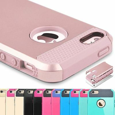 Hybrid Armor Rugged Rubber Silicone Hard Cover Case Skin fr Apple iPhone 5 5s SE